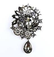 Брошка крапля з маркізами і підвіскою 5,7*3,7 см чорні діаманти, фото 1