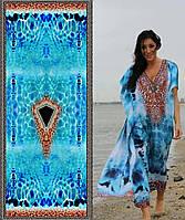 Довга жіноча колоритна туніка кафтан з цифровим 3D принтом №11970