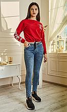 Удобные повседневные лосины из стрейчевого джинса с карманами