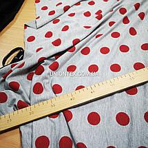 Футер двунитка принт бордовый горох на сером (180см), фото 2