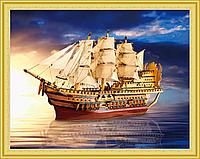 Алмазная Мозаика 40x50 Большой корабль в море