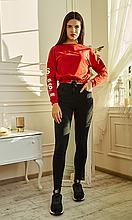 Классические черные джинсовые лосины высокая посадка с карманами