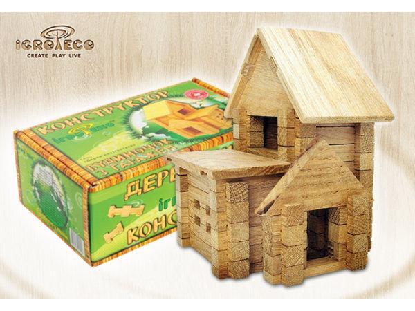 Конструктор деревянний Игротеко Домик с гаражом