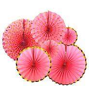 """Подвесные веера """"Розовый с золотом"""", набор 6 шт"""