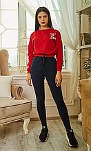 Молодежные женские лосины из джинса весна-осень с карманами