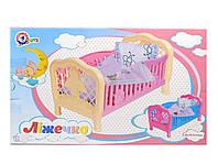 Кроватка для кукол с набором постельного Технок (4531)