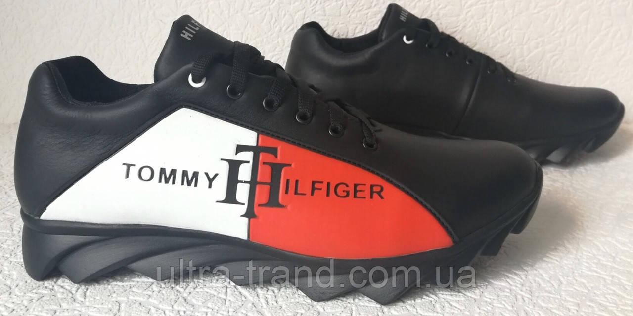 Tommy Hilfiger! Яркие кожаные демисезонные мужские кроссовки на ребристой подошве.
