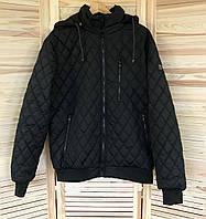 Куртка мужская весенняя (осенняя) черная, мужская ветровка на резинке, с манжетами и капюшоном