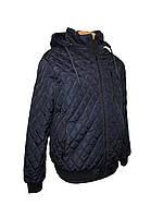 Куртка мужская весенняя (осенняя) синяя, мужская ветровка на резинке, с манжетами и капюшоном