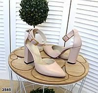 Кожаные туфли на устойчивом  каблуке 35-40 пудра, фото 1