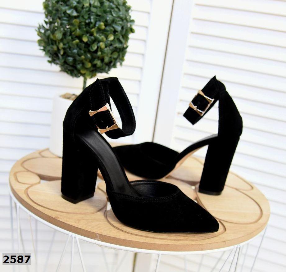 Шикарные замшевые туфли на каблуке 35-40 р чёрный