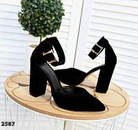 Шикарные замшевые туфли на каблуке 35-40 р чёрный, фото 1