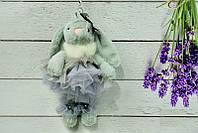 Брелок пушистый Кролик с бантом серый, 27 см