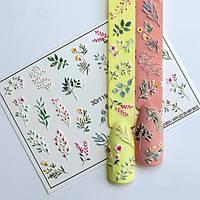 Наклейки для ногтей - Весенние веточки, бутончики, цветочки, листочки ( водный слайдер-дизайн для ногтей )