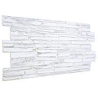 Стеновые декоративные пластиковые панели ПВХ Грейс (Grace) - камень КВАРЦИТ СЕРЫЙ (980x498) мм