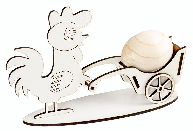 """Пасхальная заготовка МДФ """"Подставка Курица с тачкой на 1 яйцо"""" 19*11 см. Атлас М-2062"""