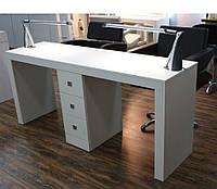 Маникюрный стол для двух мастеров однотумбовый на 3 ящичка  VM109, цвет ДСП на выбор, фото 1