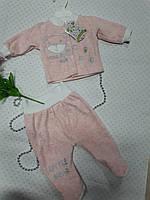 Костюм,комплект для девочки (новорожденного),розового цвета ,с апликацией мишкой