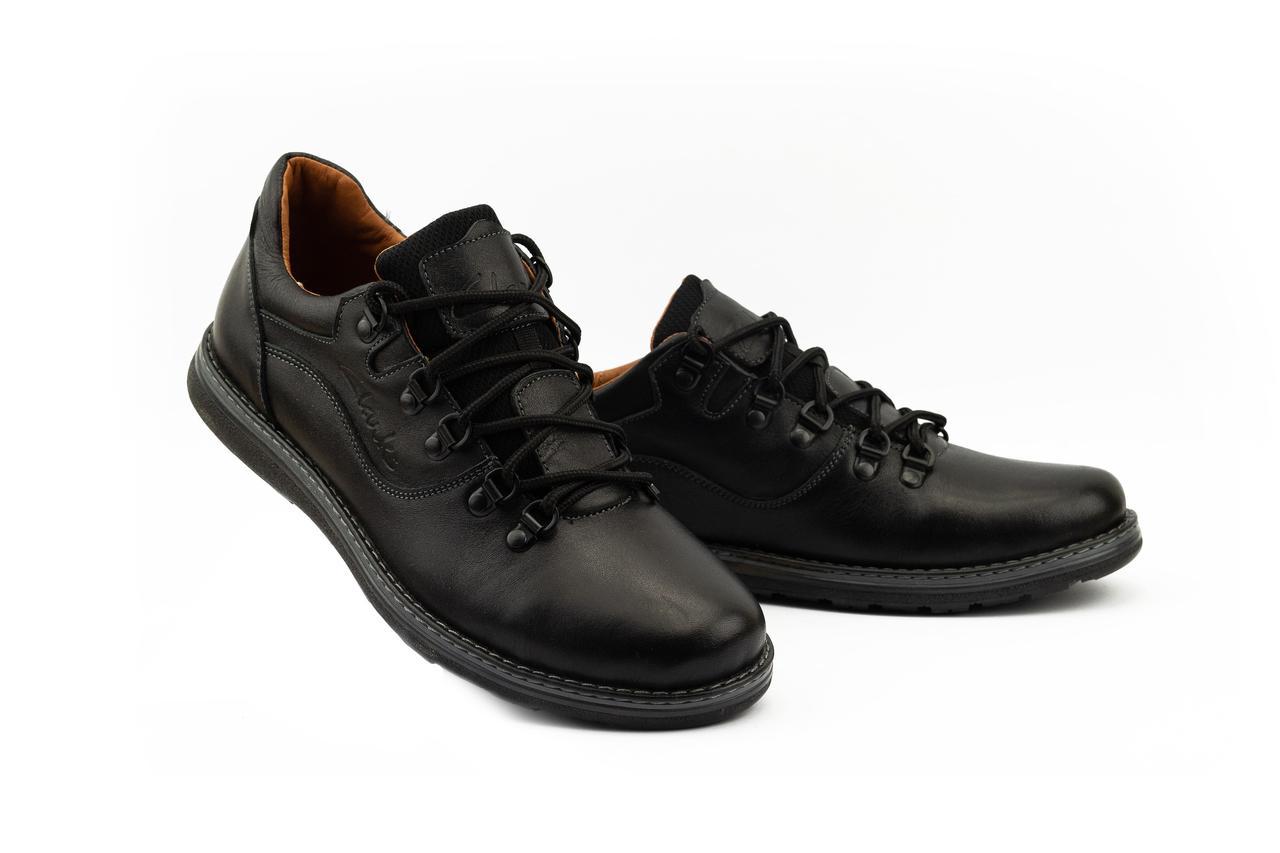 Мужские Повседневные туфли кожаные весна/осень черные Yuves 650