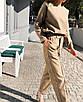 Шикарный прогулочный теплый костюм повседневный с брюками кежуал классический беж коричневый бордо, фото 7
