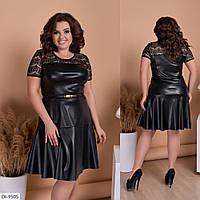 Сукня шкіряне жіноче чорне ошатне батал розміри 48 50 Новинка 2020 є колір