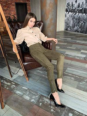 Стильні жіночі замшеві штани кольору хакі