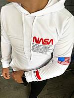 Мужское худи кенгуру с капюшоном NASA белая. Турция. Живое фото(мужская кофта)