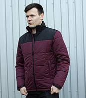 """Куртка мужская демисезонная без капюшона """".Vidlik M -1"""" бордово-черная. Живое фото (весенняя куртка)"""