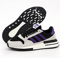 Женские кроссовки Adidas ZX 500 Boost Light Gray Black Purple. Живое фото (Реплика ААА+)
