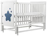 """Дитяче ліжечко """"Дубик-М"""" Зірочка біле з відк.боковинкою на маятнику."""