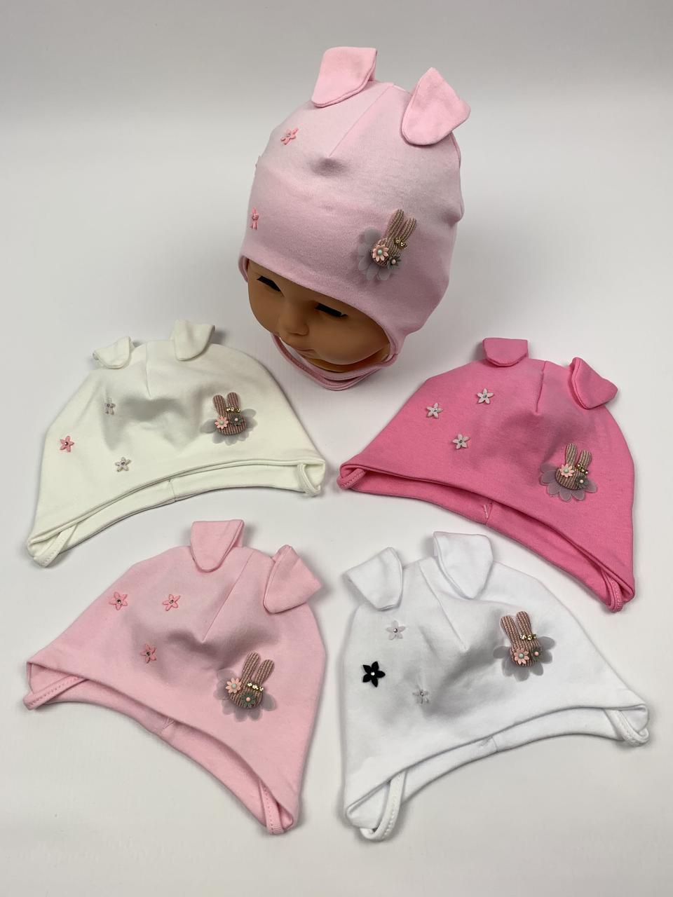 Детские польские демисезонные трикотажные шапки на завязках для девочек оптом, р.36-38 40-42, Ala Baby (ab171)