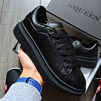 Мужские кроссовки Adidas Alexander McQueen Oversized Leather Black. Живое фото (Реплика ААА+)