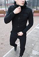 Спортивный костюм мужской с капюшоном черный классика Турция. Живое фото(костюм весенний мужской), фото 1