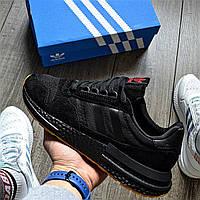Мужские кроссовки Adidas ZX 500 RM 'Black Gum' 40-45р. Живое фото (Реплика ААА+)
