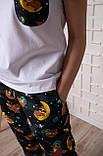 Женский домашний костюм, размер XXXL, белая с синим Ленивцы, женская пижама (футболка и брюки), фото 2