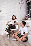 Женский домашний костюм, размер XXXL, белая с синим Ленивцы, женская пижама (футболка и брюки), фото 4