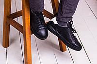 Стильные кожаные кроссовки 40-45 р чёрный, фото 1