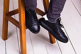 Стильные кожаные кроссовки 40-45 р чёрный