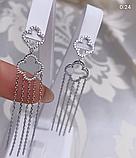 Серебряные длинные  серьги с подвесом Эрта, фото 4