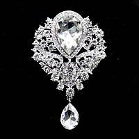 Брошь 8,4*5,6см с каплей цветком и подвеской Crystal (кристалл прозрачная)