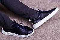 Стильные кожаные кроссовки 40-45 р т. синий, фото 1