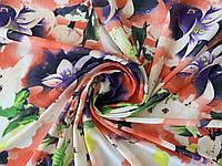 Шифон цветочный акварель, коралловый