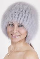 Вязаная женская шапка из песца Vp00023 Светло-серый