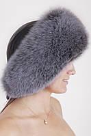 Зимняя шапка из кожи и меха Vika-111  Серо-голубой