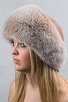 Зимняя шапка из кожи и меха Vika-111  Бежевый