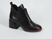 Модные женские кожаные  ботиночки на каблуке