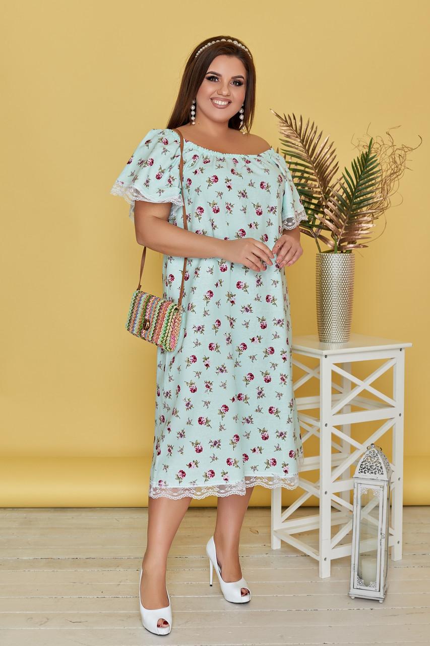 Платье Лен Цветочки 05180