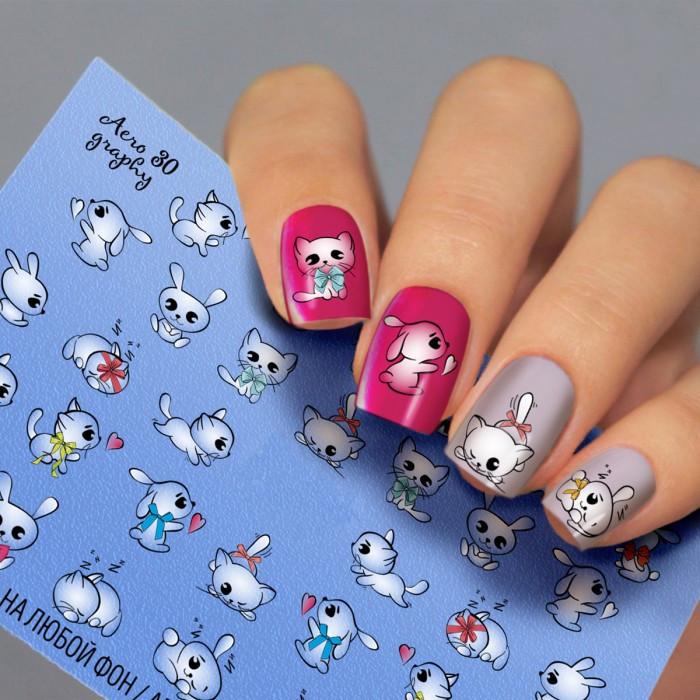 Водні наклейки для нігтів Мультики Зайчик Кошеня Fashion Nails ( Слайдер -дизайн Котики, Зайчики ) Aero30