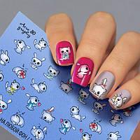 Водные наклейки для ногтей Мультики Зайчик Котёнок Fashion Nails ( Слайдер -дизайн Котики Зайчики ) Aero30
