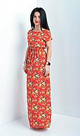 Красивое женское летнее платье в пол красного цвета